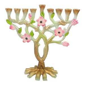 Candle Menorah Stainless Steel Multi Colored Tree and Flower Design 10""