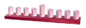 Candle Strip Menorah Enamel Finish Light Pink Diamond Shaped Cylinders on Hot Pink Base
