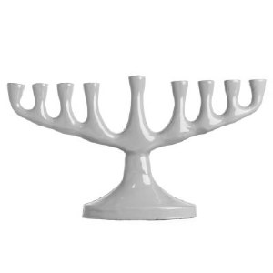 "Candle Menorah Light Silver Colored Stainless Steel Classic Low Shape 10"" x 5.5"""