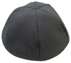 Black Terylene Yarmulka 6 Part Size 10