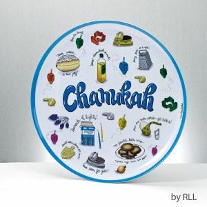 Chanukah Melamine Serving Tray Round Chanukah Musings Design