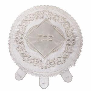 "Matzah Cover Round Brocade 3 Pockets White Diamond Shape Design 17.5"""