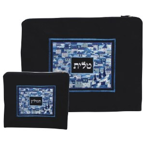 Tallis and Tefillin Bag Set Navy Velvet with Blue Jerusalem Embroidered Design