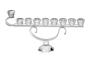 "Oil Menorah Crystal with Swirl Stem Design 7.5""H"
