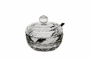 """Crystal Honey Dish Beveled Design with Spoon 4"""""""