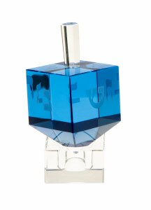 Classic Crystal Dreidel with Stand Blue