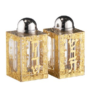 Crystal Salt and Pepper Shaker Set Gold Colored Jerusalem Shabbos Design