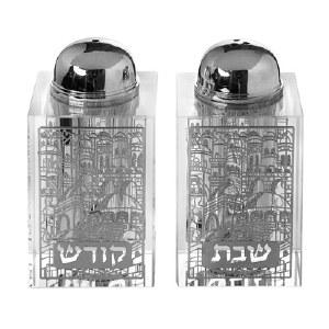 Crystal Salt and Pepper Shaker Set Broken Glass Silver Colored Jerusalem Shabbos Design