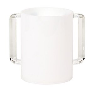 Acrylic Washing Cup White with Clear Handles