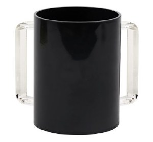 Acrylic Washing Cup Black with Clear Handles