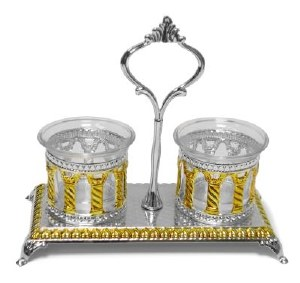 Silver Plated Salt and Pepper Holder Set Royal Palace Design Gold