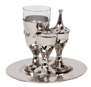 Hammered Havdalla Set Nickel Plated 4 Pieces