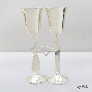 Aluminum Kiddush Cup Bride and Groom 2 Cup Set