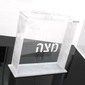 Lucite Matzah Box Square Gray Marble Design