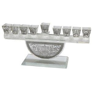 Crystal Menorah with Metal Plates Design