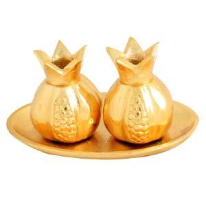 "Aluminum Candlesticks Pomegranate Shape Gold 3.5"" with Tray"