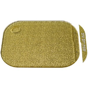 "Acrylic Challah Tray Gold with Matching Acrylic Knife 11"" x 14.5"""