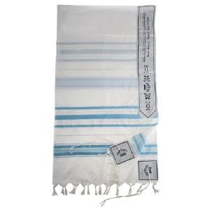 "Tallis Acrylic Light Blue and Silver Striped Design 47"" x 67"""