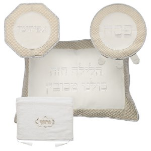 Pesach Set Faux Leather 4 Piece White and Gold Quilted Border Design