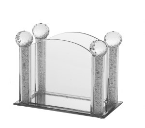 Crystal Napkin Holder with Crushed Glass in Stems