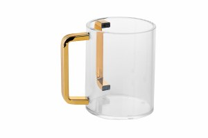 Lucite Wash Cup Round Cup Gold Handles