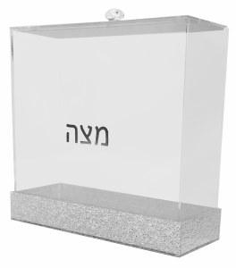 """Lucite Square Matzah Box Silver Glitter Design 8"""""""