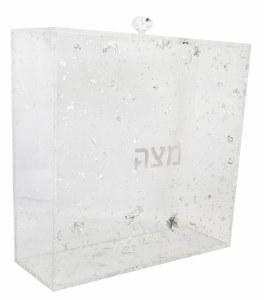 """Lucite Square Matzah Box Silver Color Flakes Design 8"""""""