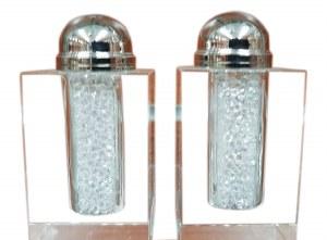 """Crystal Salt and Pepper Shaker Set Crushed Stones Design 3"""""""