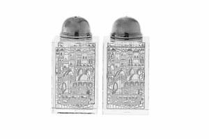 Crystal Salt and Pepper Shaker Set Silver Jerusalem Scene Design