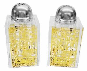 Crystal Salt and Pepper Shaker Set Gold Jerusalem Scene Design