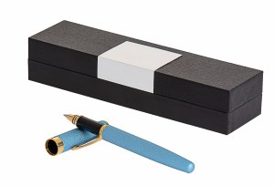 Shimmery Blue Pen with Gold Clip Blue Ink