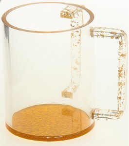 Lucite Washing Cup Gold Colored Flakes