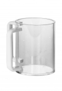Lucite Wash Cup Round Cup White Handles