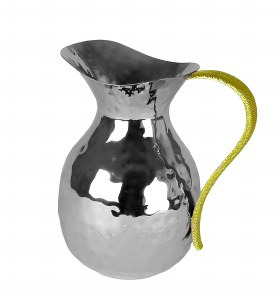 Hammered Stainless Steel Pitcher with Gold Handle