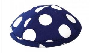 Cotton Kippah 4 Part Blue White Polka Dots Design