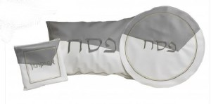 Pesach Set Faux Leather 3 Piece Abstract Design White Gray