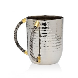 Hammered Metal Wash Cup Silver Color Cable Design Handles