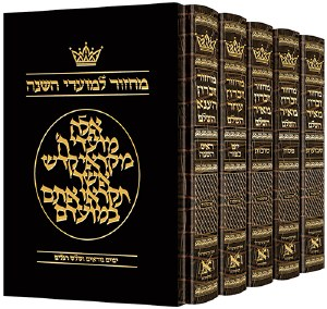 Artscroll Machzorim Hebrew with Hebrew Instructions 5 Volume Slipcased Set  Alligator Leather Ashkenaz