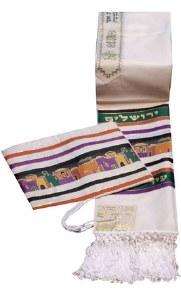 "Tallis Aviv Jerusalem City of Peace Size 24 Earthtone Colors with Matching Bags 24"" x 72"""