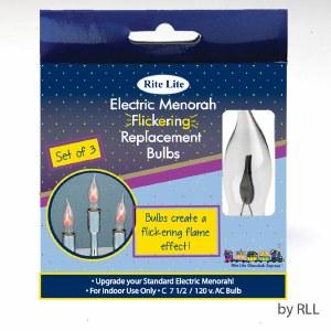 Electric Replacment Menorah Bulbs Flickering Flame Shaped 3 Pack