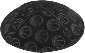 Kippah Suede Basketball Design Size Medium Black