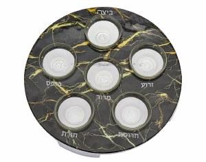 Round Metal Seder Plate Black Marble Decal Kaarah