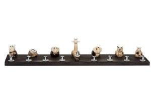 Wood Candle Menorah Shell Zoo Design