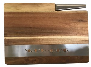 Challah Board Acacia Wood with Stainless Steel Inscribed Pomegrantes