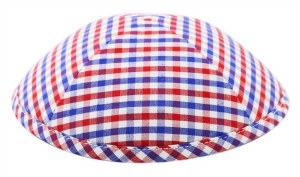 Cool Kippah Blue and Red Gingham Suit Material 4 Part #4