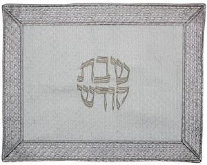 Challah Cover Vinyl White and Silver Weaved Border Design