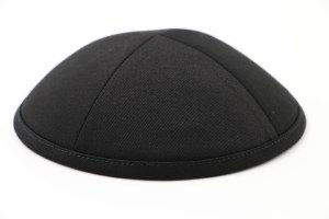 Cool Kippah Black Cotton Twill 4 Part 21cm