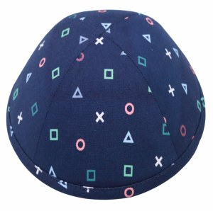 Kippah Geo Symbols Design Navy Linen 4 Part Size 4