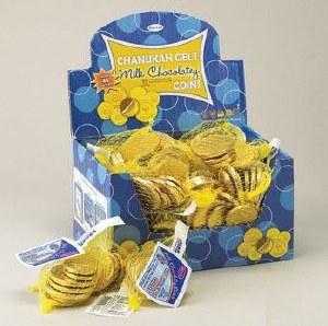 Chanukah Gelt Milk Chocolate Coins Box of 48 Bags