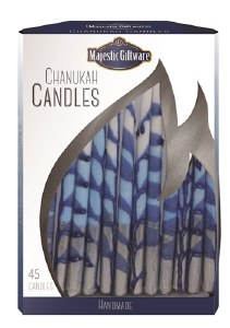 """Chanukah Candles Blue White and Silver Executive Collection 45 Count 6"""""""